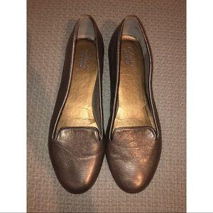 CLARKS bronze loafer flats